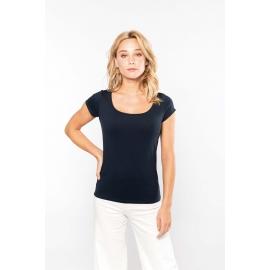 K384 - Dames-t-shirt korte mouwen met boothals