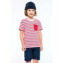 KARIBAN  - Gestreept T-shirt met zak en korte mouwen kids