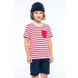 K379 - Gestreept T-shirt met zak en korte mouwen kids