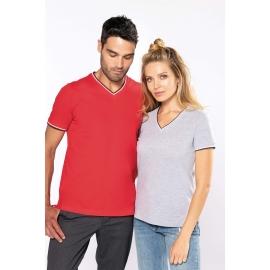 KARIBAN Dames-t-shirt piqué V-hals