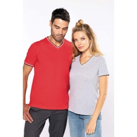 KARIBAN - Dames-t-shirt piqué V-hals