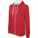 Sweater met rits en capuchon in contrasterende kleur KARIBAN