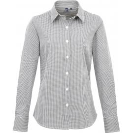 PREMIER Ladies' long sleeve microcheck gingham shirt