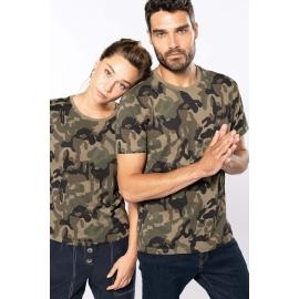 KARIBAN - T-shirt camo korte mouwen