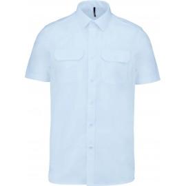 K503 - Herenpilootoverhemd korte mouw wit