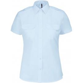 Kariban dames piloothemd korte mouw wit