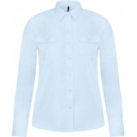 Kariban Damespilootoverhemd lange mouwen wit