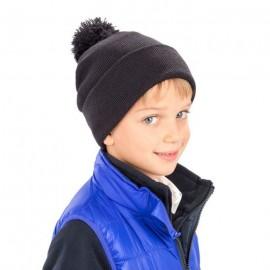 RC028J - Kinder Pompon Beanie zwart