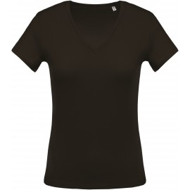 K390 - Ladies' short-sleeved V-neck T-shirt dark grey no label, kleine maatjes