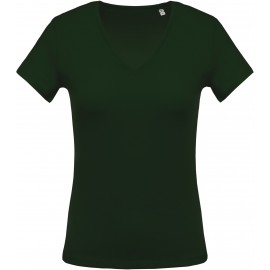 K390 - Forest green Ladies' short-sleeved V-neck T-shirt no label, kleine maatjes