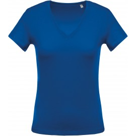 K390 - Royal blue Ladies' short-sleeved V-neck T-shirt no label, kleine maatjes