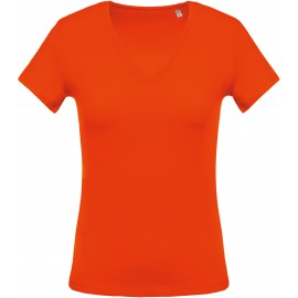 K390 - Orange Ladies' short-sleeved V-neck T-shirt no label, kleine maatjes