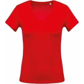 K390 - Rood  Ladies' short-sleeved V-neck T-shirt no label, kleine maatjes
