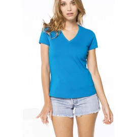 K390 - Tropical blue  Ladies' short-sleeved V-neck T-shirt no label, kleine maatjes