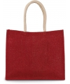 KI0219 - Jute Strandtas cherry red*gold
