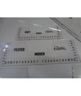 T-shirt ruler set 4 maten witte of zwarte tekst