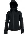 K414 - Dames Afneembare hooded softshell zwart, maten S en M vanaf 26 juni 2021