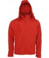 K413  Afneembare hooded softshell  rood maten L, XL en XXL vanaf 23 mei 2021