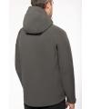 K413  Afneembare hooded softshell  titanium