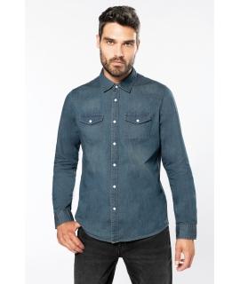 K519 - Heren denim overhemd lange mouwen