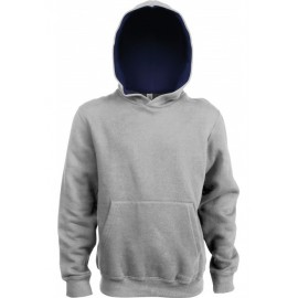 K453 - KINDER HOODED SWEATER zwart - rood