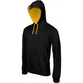K446 - Hooded sweater met gecontrasteerde capuchon zwart - geel