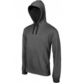 K446 - Hooded sweater met gecontrasteerde capuchon zwart - grijs