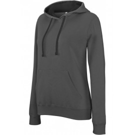 K465 - Damessweater met capuchon in contrasterende kleur KARIBAN zwart - grijs