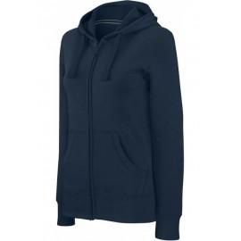 K464 - Damessweater met rits en capuchon KARIBAN wit
