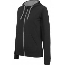 K467 - Damessweater met rits en capuchon in contrasterende kleur zwart - grijs