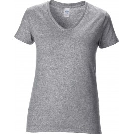 GI4100VL - Premium Cotton Ladies' V wit
