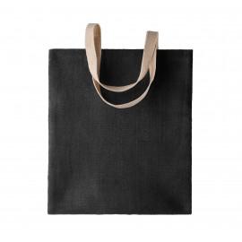 KI0226 Natuurlijke jute shopper zwart