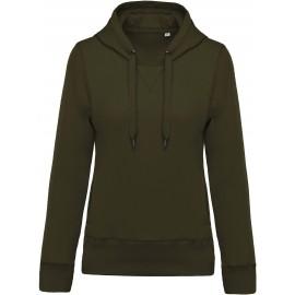 K483 - Damessweater met capuchon BIO mossy green