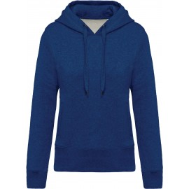 K483 - Damessweater met capuchon BIO ocean blue heather