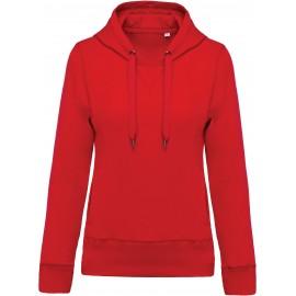 K483 - Damessweater met capuchon BIO red