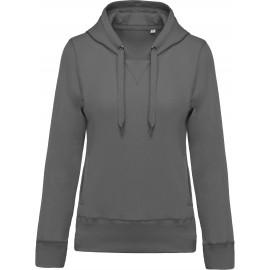 K483 - Damessweater met capuchon BIO stormgrey