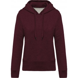K483 - Damessweater met capuchon BIO wine heather