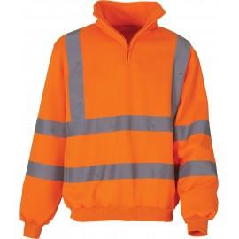 YHVK06 - Signalisatie sweatshirt met 1/4 rits oranje