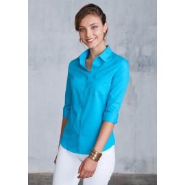 K558 dameshemd met 3/4 mouw bright turqoise