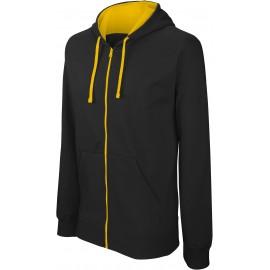 K466 - Sweater met rits en capuchon in contrasterende kleur KARIBAN zwart - grijs